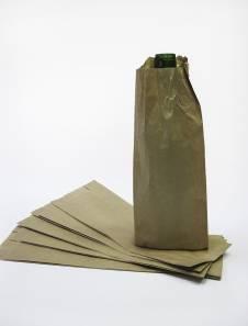 Крафт пакет для бутылок с плоским дном